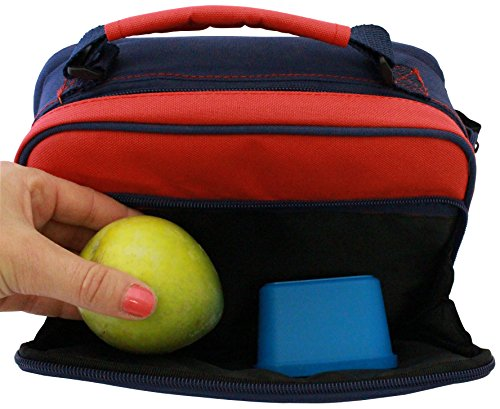 insulated lunch bag multi compartment bento box carrier tote for kids and adults navy and. Black Bedroom Furniture Sets. Home Design Ideas