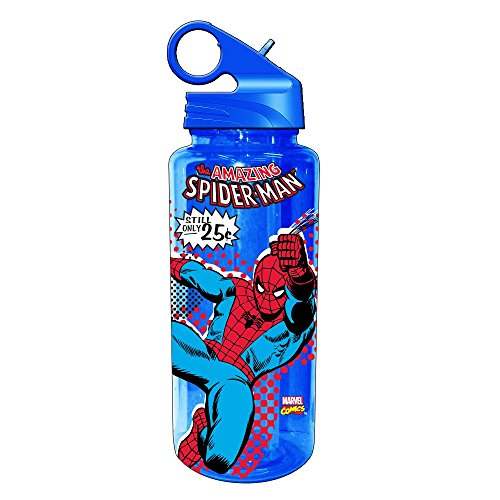 Spider Man Water Bottle - Silver Buffalo MC2064 Marvel Spider-Man Tritan Water Bottle, 20-Ounces