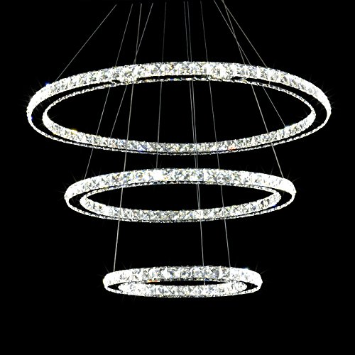 Meerosee crystal chandeliers modern led ceiling lights fixtures meerosee crystal chandeliers modern led ceiling lights fixtures chandelier lighting dining room pendant lights contemporary 3 rings adjustable stainless aloadofball Image collections