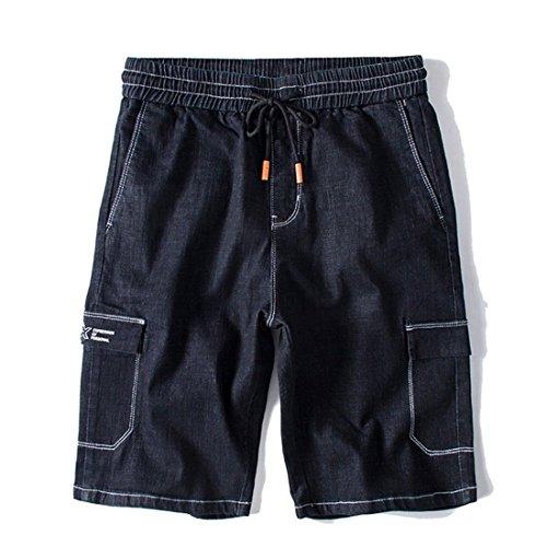 Stazsx Pantalones Cortos de Mezclilla de los Hombres de Gran tamaño Cinco Pantalones Flojos Pantalones de Verano Pantalones Vaqueros Negros Negro
