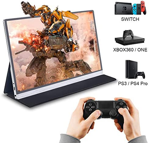 LONCEVON- 15.6 inch USB C Powered Portable Monitor for Laptop Mac Gaming ; Second Computer Monitor Screen with HDMI + 2 Full Type C Port, IPS HDR 1920X1080 Pixel;1.93 LBS; Aluminum Body ; Leather Case