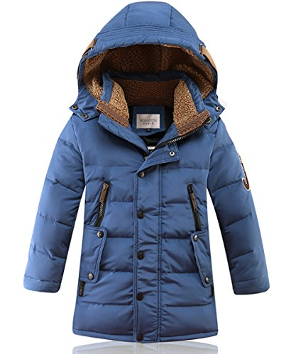 DUOCAI Boys Kids Winter Hooded Down Coat Puffer Jacket For Big Boys Mid-Long