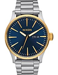 Nixon Mens Sentry SS 42 mm Watch in Gold/Blue Sunray