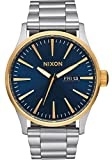 Nixon Men's Sentry SS 42 mm Watch in Gold/Blue Sunray