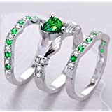 3PC Women Fashion 925 Silver Emerald Cluster Ring Engagement Wedding Jewerly Set (8)