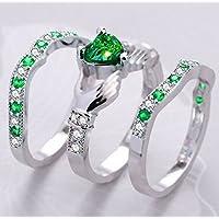 3PC Women Fashion 925 Silver Emerald Cluster Ring Engagement Wedding Jewerly Set (8)