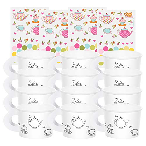 Paint Your Own Tea Cup (Tea Time Tea Party Decorate Your Own Favor Cups (Value 2-Pack: 12)