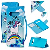 Cfrau Leather Case with Black Stylus for Samsung Galaxy S10E,Cute Design Magnetic Wallet Flip PU Leather Card Slots Kickstand Hand Strap with Soft TPU Case for Galaxy S10E - Rainbow Horse
