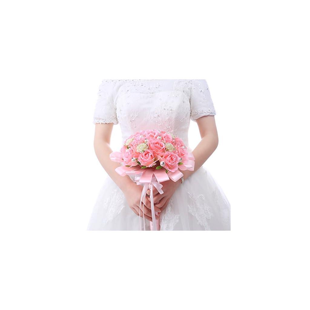 Wedding Bouquet Pink Rose Flowers Bouquet Long Silk Ribbon Fake Pearl Brida Bridesmaid