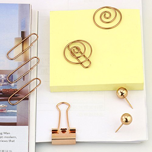 65 PCS Decorative Paper Clips and Set,Multi-Kind Push-Pin Map Tacks Long Tail Clip Paper Clip Pin Clip for School,Home & Office (Rose Gold) Photo #4