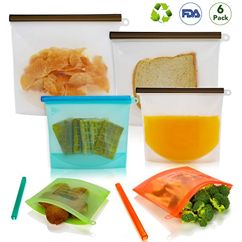 Reusable Sandwich Bags, 6 Pack Silicone Food Storage Bag 2019 Food Grade Reusable Snack Bags Zip Lock Leakproof Freezer Microwave Dishwasher Safe Preservation Containers for Vegetable, Fruit, Meat