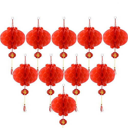 Coopay 10 Pack Chinese Red Lanterns Festival Decorations for New Year, Spring Festival, Wedding, Restaurant Decoration -