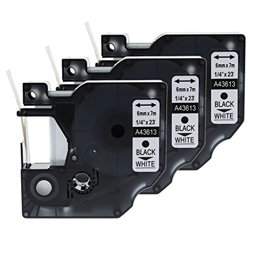 GREENCYCLE 3PK Black on White Label Tape Compatible for Dymo D1 43613 1/4 Inch LabelManager 420P Labeling Maker