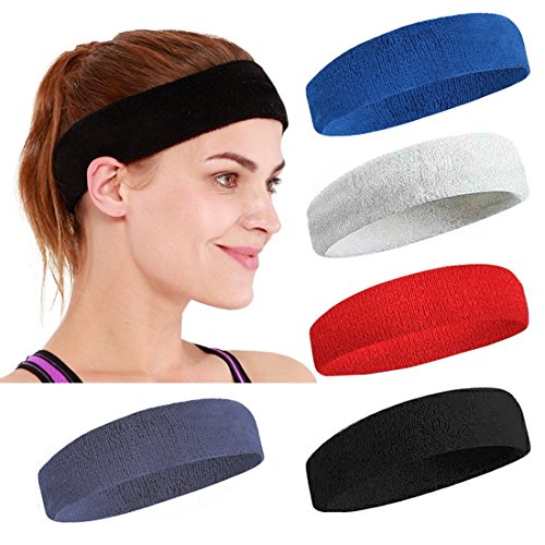 Sports Headbands Terry Cloth Moisture Wicking Athletic Sweatbands for Men & Women Stretchy Absorbing Workout Yoga 5 PCS