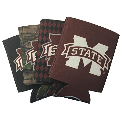 Jay Mac Sports NCAA 4-Pack Multi Color Sublimated Neoprene Beverage 12oz Insulated Can Hugger (Mississippi State Bulldogs)
