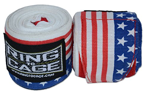 Ring to Cage USA Flag Printed Handwraps Mexican Style Stretchable 180″