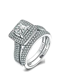 AmDxD Jewelry Sterling Silver Promise Rings for Girls Square Cubic Zirconia