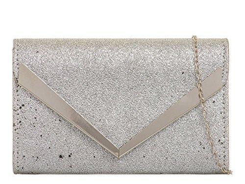 Women's Chain Handbag Bag Grey Leather Clutch Faux Evening Strap Arrow Trim rfwrSIqOx