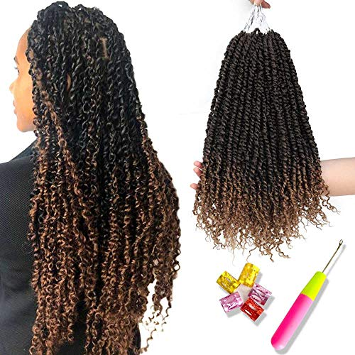 6 PCS Pre-twisted Passion Twist Hair Ombre Crochet Braids PreTwisted Passion Twist Crochet Hair Curly Black To Honey Blonde Pre Looped Bohemian Braiding Hair Synthetic Hair Extensions(18inch,T1B/27#) (Best Crochet Hair Brand)