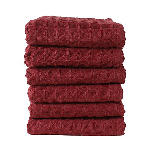 Linen and Towel 6 Pack Kitchen Towels, 18 x 28 inch Cotton Dish Towels, Tea Towels, Bar Towels in Big Waffle Weave Maroon color, Soft and Absorbent Dish Cloth