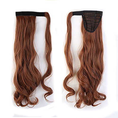 """Fashion Lady 17""""(43cm) Curly Light Auburn Wrap Around Ponytail Clip in Hair Extensions Pony Tail Popular Cosplay Style"""