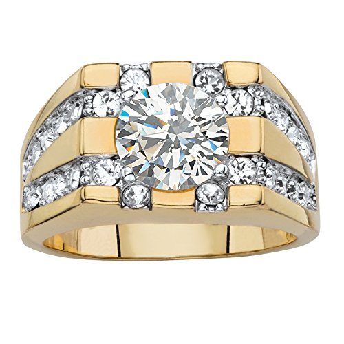 Palm Beach Jewelry Mens 14K Yellow Gold Plated Round Cubic Zirconia and Round Crystal Grid Ring
