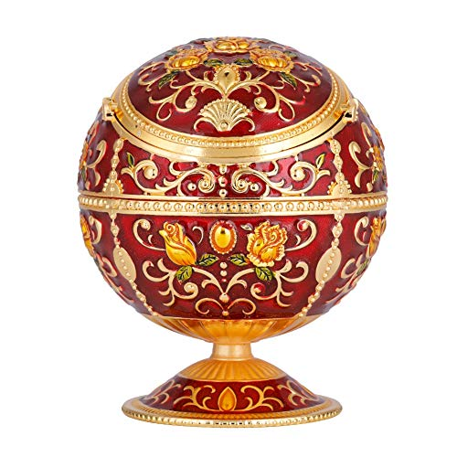 Wal front Portable Mini Ashtray Metal Round Ball Carving Stamped Pattern Gift Table Decoration(#01)