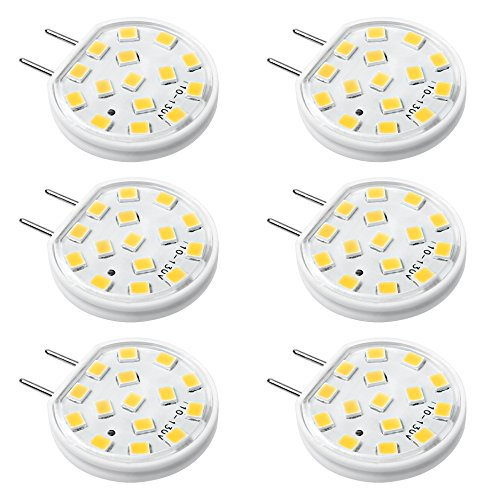 Kakanuo G8 LED Bulb Dimmable G8 2.5 Watt Warm White 3000K Puck Under Cabinet Lights Disc Type Under Counter Kitchen Lighting AC110-130V(Pack of 6) ()