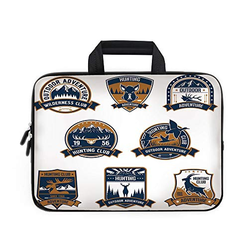 (Hunting Decor Laptop Carrying Bag Sleeve,Neoprene Sleeve Case/Shield Icons Set Hunt Sports Club Emblems and Labels with Animals Decorative/for Apple Macbook Air Samsung Google Acer HP DELL Lenovo Asus )
