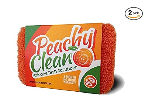 Peachy Clean® Scratch Free Silicone Dish Scrubber With Fresh Peach Scent, Set of 2
