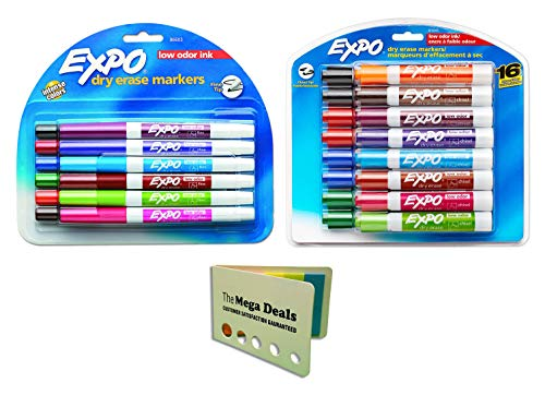 EXPO Low Odor Dry Erase Markers, Chisel Tip and Fine Point, Assorted Colors, 16 Pack and Pack of 12   Includes 5 Color Flag Set