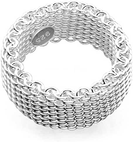 Sephla 925 Sterling Silver Plated Mesh Ring