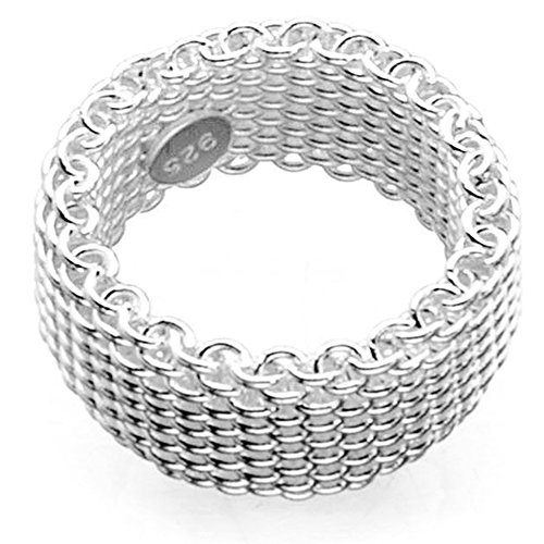 S925 Sterling Silver Plated Woven mesh Silky Chains Ring (7) ()