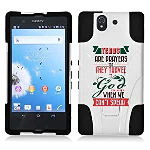 Fincibo (TM) Sony Xperia Z C6603 Yuga C6606 Hybrid Dual Layer Protector Cover Case Gel Silicone With Stand - PSALM 56:8, White/ Black
