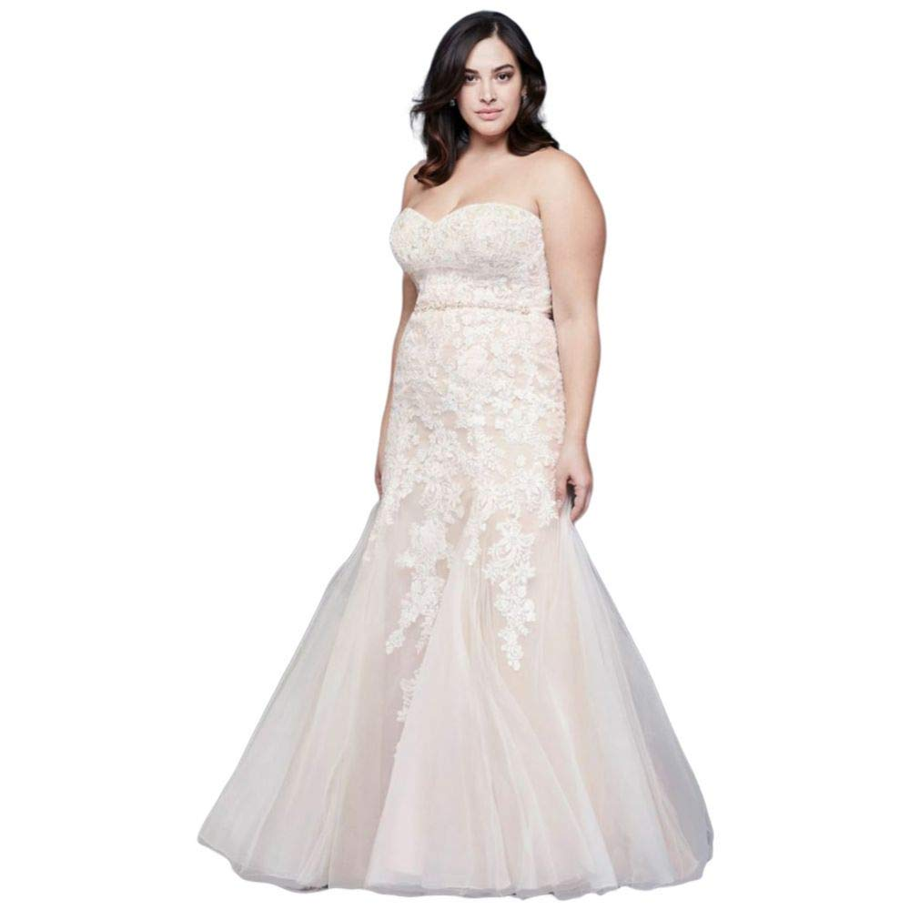 Beaded Floral Lace Mermaid Plus Size Wedding Dress Style ...