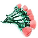 Coshine 6pcs Pro Enchanted Rose Flower Nylon Hair Makeup Brush Set, For foundation, loose powder, blush, shade
