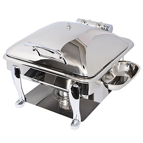 Eastern Tabletop 3934S Crown 6 Qt. Stainless Steel Square Induction Chafer with Freedom Stand and Hinged Dome Cover