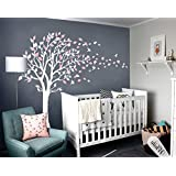 LUCKKYY Tree Blowing in the Wind Tree Wall Decals Wall Sticker Vinyl Art Kids Rooms Teen Girls Boys Wallpaper Murals Sticker Wall Stickers Nursery Decor Nursery Decals (White+pink)