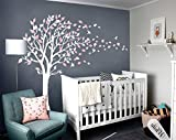 girl decals - LUCKKYY Tree Blowing in the Wind Tree Wall Decals Wall Sticker Vinyl Art Kids Rooms Teen Girls Boys Wallpaper Murals Sticker Wall Stickers Nursery Decor Nursery Decals (White+pink)