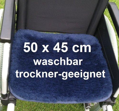 Anti Dekubitus Sitzkissen (50x45 cm) in Top-Qualität. Ultra-dichter Lammfell-Komfort, 30°- 95°C maschinen-waschbar und trockner-geeignet ! Rollstuhlkissen Größe RL = 50 x 45cm. Druck-entlastend, atmungsaktiv und sehr bequem. Mit Befestigungsbändern. Auch hervorragend geeignet für den Bürostuhl, im Auto, im LKW,... einfach überall wo man lange sitzt und man es bequem haben will.