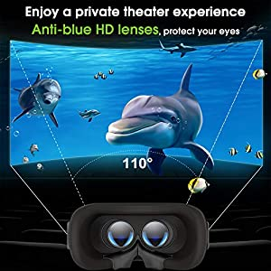 DESTEK Updated V5 VR Headset, 110°FOV Anti-Blue Light Eye Protected HD Virtual Reality Headset w/Bluetooth Controller for iPhone 12/11/X/Xs,for Samsung S20/S10/Note 10/9/Plus,Phones w/4.7-6.8in Screen (Color: 2020 V5 Combo)