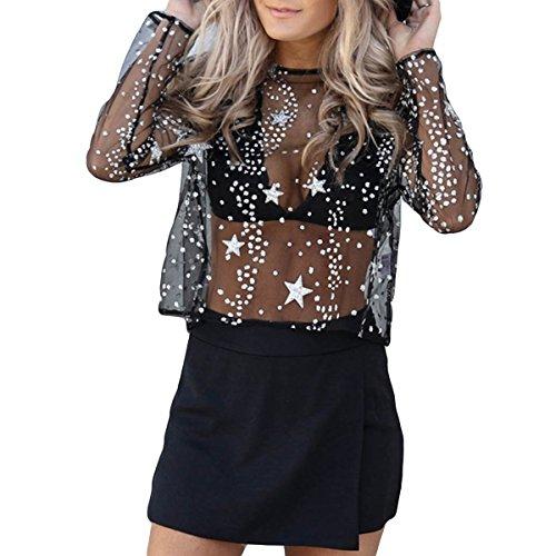 a a Vista Maglia con Lunghe Sheer Black Star Donna Jahurto da T Rotondo Shirt Maniche Scollo U8qH4XC