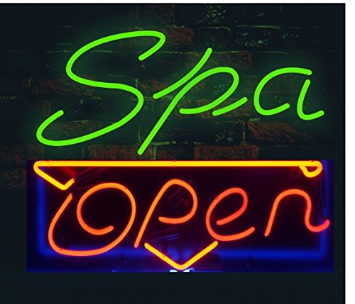 Prang-US Spa Open Neon Signs 17×14 inch, Real Neon Signs Made with Glass Tubes, Brilliant Neon Open Sign. Eye-catching Neon Beer Sign. by Prang-US (Image #1)