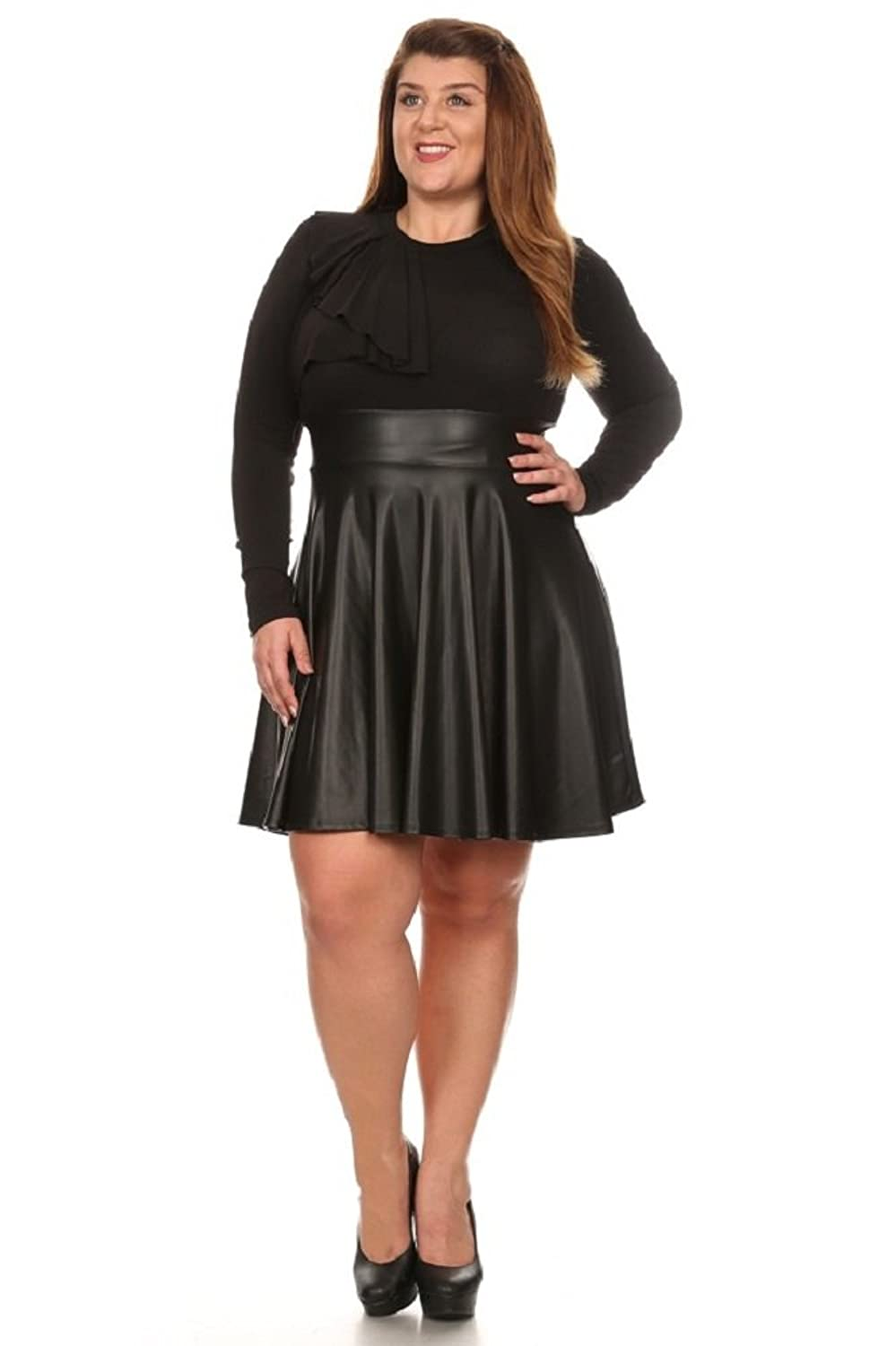 Curves Required Plus Size Faux Leather Skater Dress