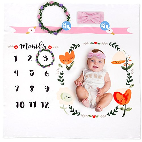 Baby Monthly Milestone Blanket Photo Set Including Props - Bonus Headband and Frame - Perfect Baby Shower Pregnancy Gift for New Moms and Women - Photography Backdrop for Newborn Infant Boy or Girl ()