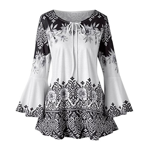 - iDWZA Women's Flare Sleeve Fashion Floral Printed Tops Blouses Keyhole T-Shirts (Black, L)