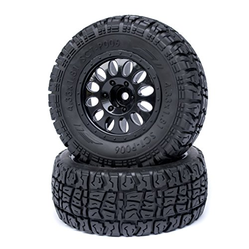 "PR Racing SCT-P006 2.2""/3.0"" Short Course Truck Tires with Foam Inserts & 1/2"" Offset Black Wheel Rims 12mm Hex 2Pcs"