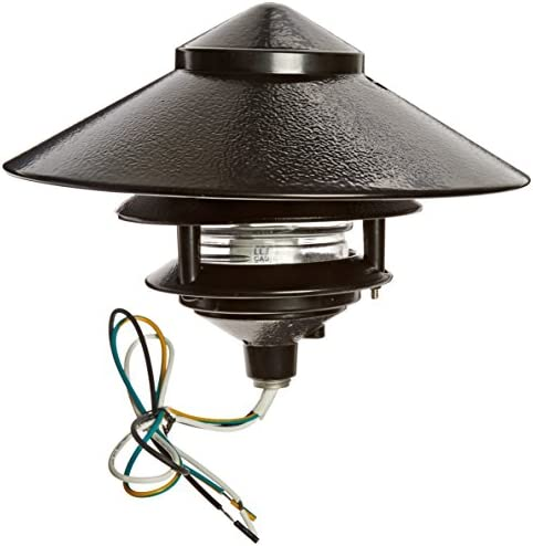 RAB Lighting LL323B Incandescent 3 Tier Lawn Light with 10 Top, A-19 Type, 75W Power, 1220 Lumens, 120VAC, Black