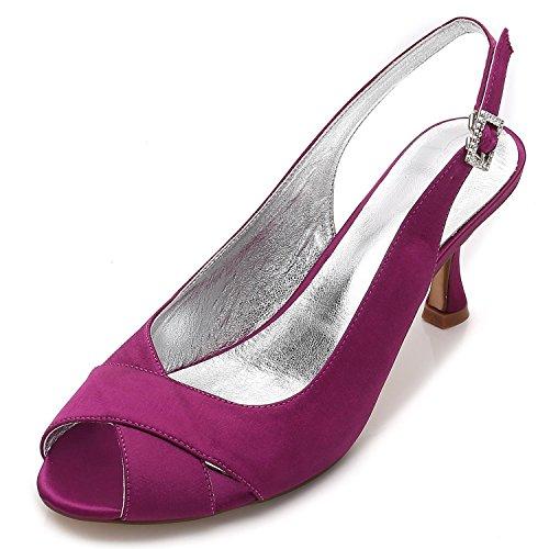 3 Satin Toe Party Chaussures 16 pour Jane Bridal Femmes Heel Court P17061 Style Chaussures Mariage YC 8 Fashion L D'honneur Purple de Peep Low Demoiselle 8vHnBw0