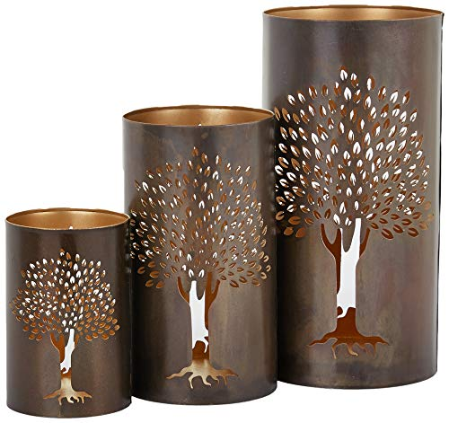 Deco 79 22096 Metal Tree Hurricane Set of 3